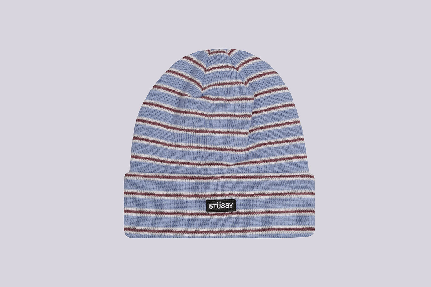 голубая шапка Stussy Striped FA18 Cuff Beanie