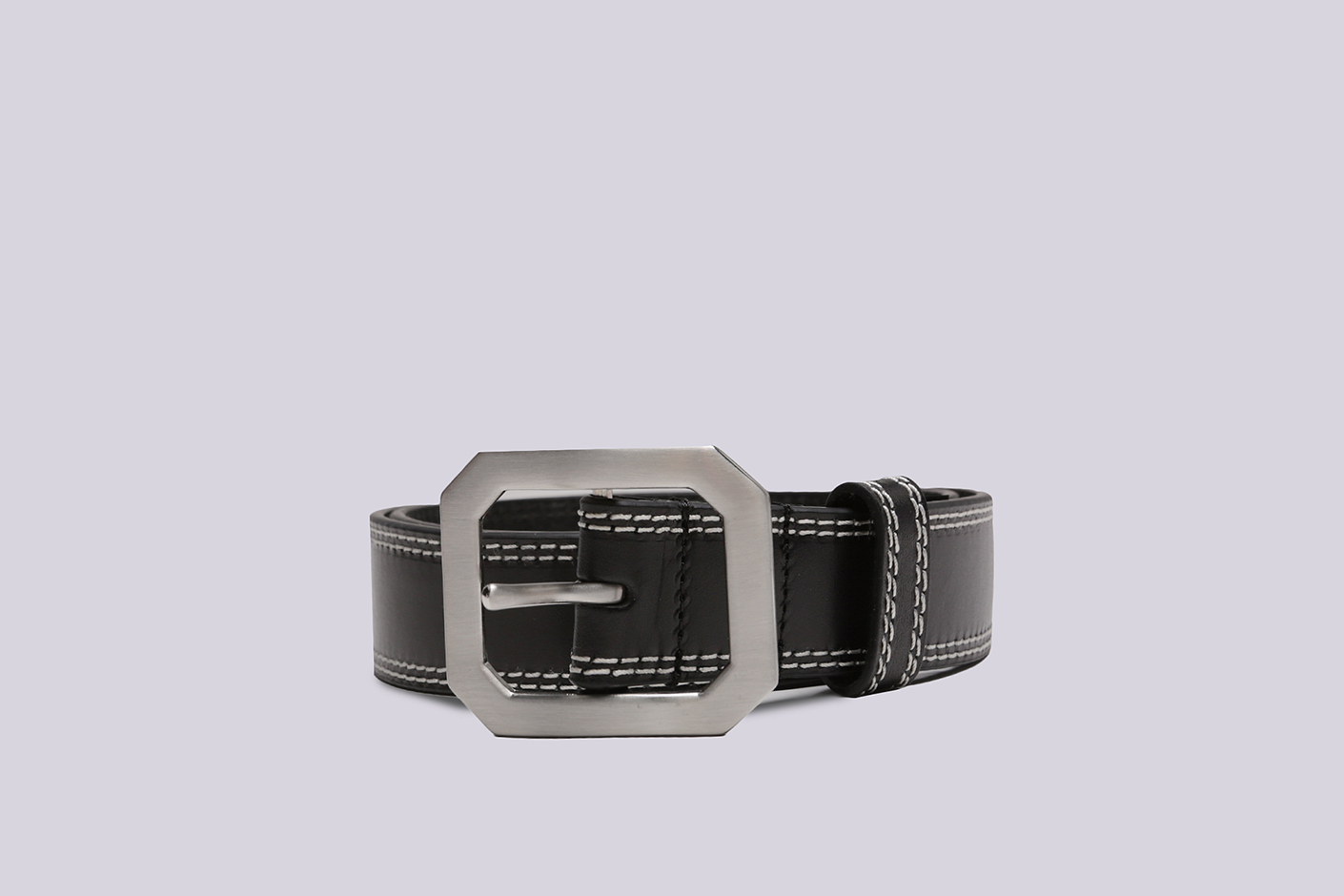 черный ремень Stussy Contrast Stitch Leather Belt