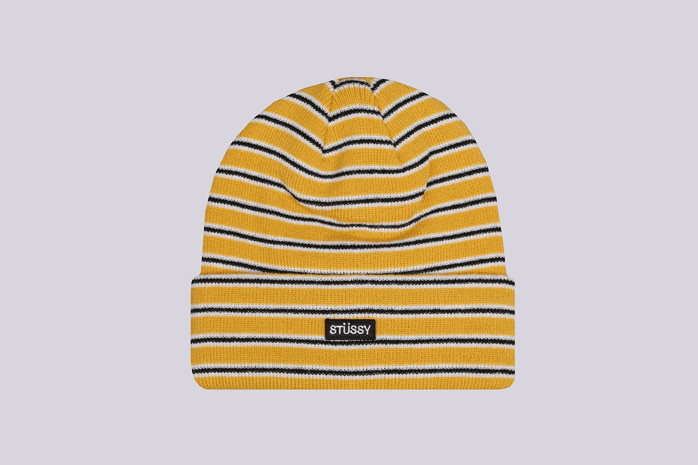 желтая шапка Stussy Striped FA18 Cuff Beanie
