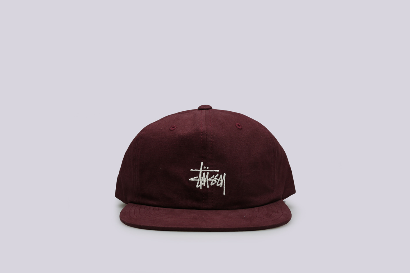 бордовая кепка Stussy Washed Oxford Strapback Cap
