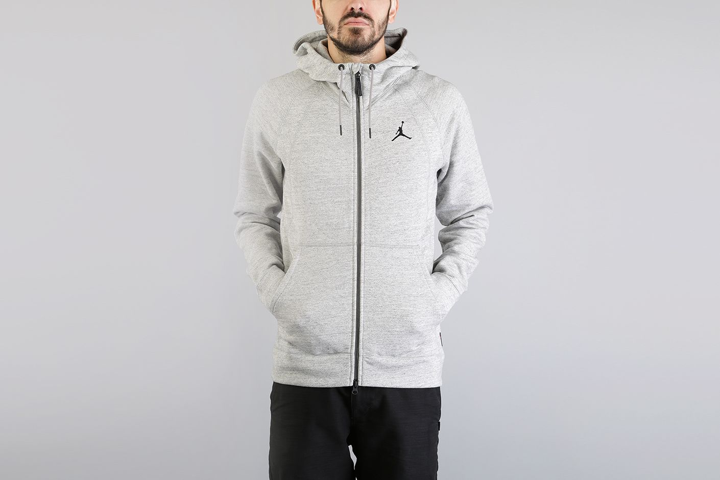 Мужская серая толстовка Jordan Lifestyle Wings Fleece Full-Zip Hoodie