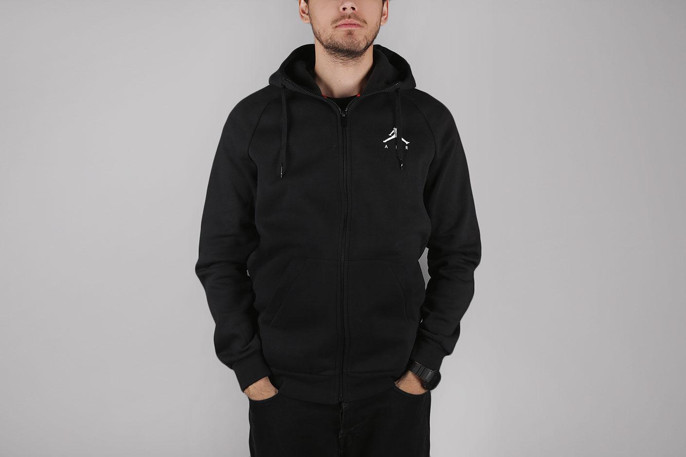 Черная мужская толстовка Jumpman Air Men s Fleece Full-Zip Hoodie от ... ca11a046351